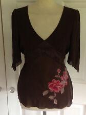 COAST beautiful dk brown & deep pink appliqued 100% SILK chiffon tunic top UK 14
