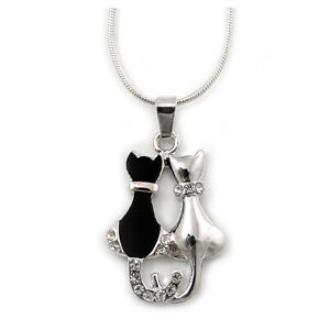 Silver Tone Crystal 'Two Cats' Pendant With Snake Chain - 40cm Length/ 5cm