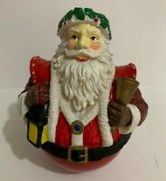 """Vintage Santa Music Box Rolly Polly Celluloid 6"""" tall Great Cond."""
