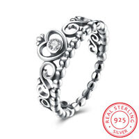 Women 925 Sterling Silver Filigree Heart Queen Princess Crown Band Ring Antique