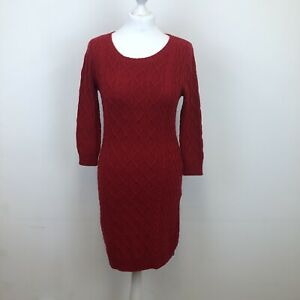 Monsoon Wool Cotton Blend Cable Knit Jumper Dress Red 3/4 Sleeve Sz S