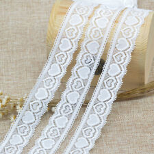 5 Yards White Elastic Lace Love Heart Trim Sewing Fabric DIY Crafts Supplies