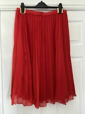 Chiffon Lined Bright Red Pleated Skirt Size 10
