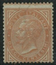 Regno 1863 - 10 centesimi DE LA RUE arancio nuovo rigommato - Sassone n°L17