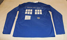 Doctor Who Mens Tardis Blue Printed Long Sleeve Rash Vest Size XXL New