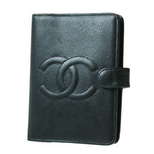 CHANEL CC Logos Notebook Cover Dark Green Leather Vintage Authentic #9191 W