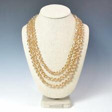 "Sparkling Faceted Champagne Crystals Bead Knotted 72"" Long Strand Wrap Necklace"