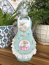Tea Time Pink Rose Buds Ruffle Kitchen Decor Liquid Dish Soap Bottle Apron