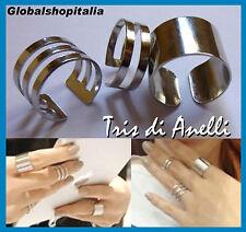 ♥ Set di 3 Anelli Anello Donna Colore Argento Regolabile Finger Gioiello Bijou