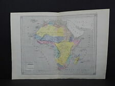Antique Maps, French Atlas, c. 1870, Hand Color, Africa, Sahara S31