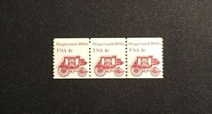 US. 1898A. 4c. Stagecoach 1890s. Coil Strip of 3. Mint. NH. 1982