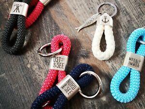 Schlüsselanhänger o Taschenanhänger aus Segelseil + NORDSEE + OSTSEE + GLÜCK AUF