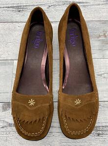 Clarks Indigo Camel Brown Suede Leather Moccasin Shoes Kitten Heels 11 M