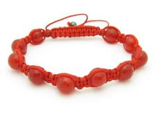 Shamballa Design Macrame Red Agate Bead Stackable Bracelet Unique Gift Idea