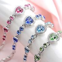 Women Ocean Heart Crystal Rhinestone Bangle Bracelet Wedding Jewelry Fashion