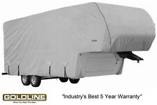 Goldline RV Trailer 5th Wheel Cover / Toy Hauler Fits 24 to 26 Foot Grey