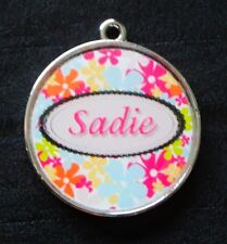 Sophie Pink Floral w/ Pet's Name Pet ID Tags Dog Collar Charms Custom