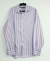Karma Men's Long Sleeve Purple Striped Button Up Shirt Size L