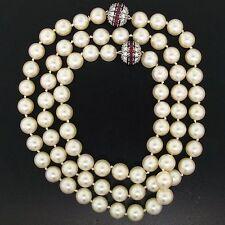 18k White Gold 9-9.50mm Akoya Pearl 6.44ctw Diamond & Ruby Necklace Bracelet Set