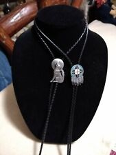 Leather Bolo's ,Hammered, Buckle co.Native Lot of 2 Southwestern Silver, Black