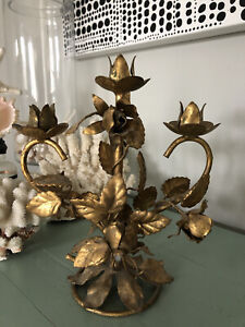 Italy Tole Gilt Rose Candle Holder Hollywood Regency