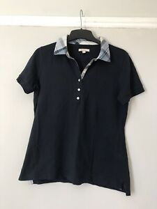 Ladies Barbour Navy Polo Shirt Checked Collar Size 12