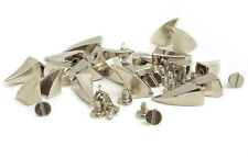 20 17mm Silver Curved Screw Spikes, Rock Leather Bag Shoe Studs CRAFT Biker