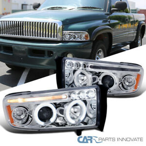 For Dodge 94-01 Ram 1500 2500 3500 Clear LED Halo Projector Headlights Pair