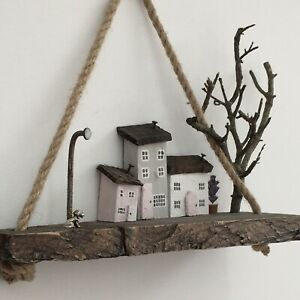 Dog Wall Art, Eco Friendly Rustic Wonky Cottage Scene, Spaniel Rope Wood Picture