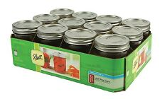 12 Jar Pack 8 OZ Mason Jars w/ Lids Canning Ball Regular Mouth Half Pint Wedding