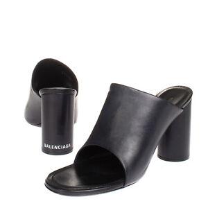 RRP€510 BALENCIAGA Leather Mule Sandals EU 38.5 UK 5.5 US 8.5 Heel Made in Italy