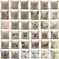 Vintage Square Linen Cotton Throw Pillow Case Cushion Cover Home Sofa Car Decor