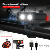 Bike Front Light LED USB Rechargeable Bicycle Helmet Headlight Cycling Rear Lamp