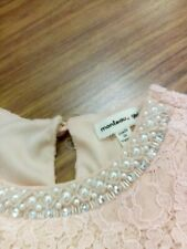 Mouteau Girl Pink Lace Pearl Neck Dress Girls Size 7