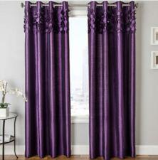 "Softline Lazio Grommet Top Curtain Panel Faux-Silk Purple 54""x95"""