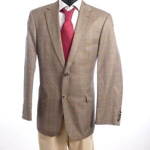 HUGO BOSS Sakko Jacket Bertolucci Gr.52 braun Glencheck Einreiher 2-Knopf -S964
