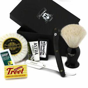 Mens Barber Style Shaving Kit Pure Badger Brush Half Blade Straight Razor + Soap