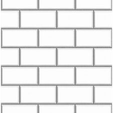 BHF FD40136 Ceramica Subway Tile Kitchen and Bathroom Wallpaper - White