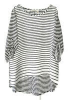 Chico's Size 3 (Women's XL) Black and White Striped Tab Sleeve Semi Sheer Blouse