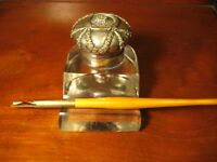 ANTIQUE ART NOUVEAU INKWELL / PEN HOLDER METAL AND GLASS