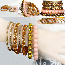Women Gold Inlaid Rhinestones Beaded Cuff Wristband Bangle Bracelet 7 Piece Set