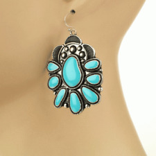 Turquoise Squash Blossom Flower Earrings Silver Tone Tribal Fish Hook Style