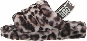 UGG Fluff Yeah Slide Panther Print Stormy Grey Women's Slippers 1120903