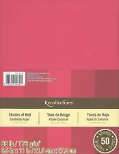 "New Recollections 8.5x11"" Cardstock Paper Shades of Red 50 Sheets"