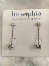 Lia Sophia Crystal Ball Silver Earring