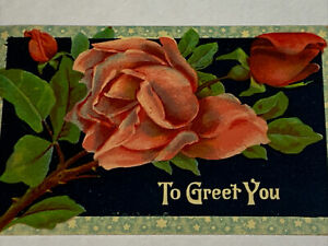 Antique Postcard To Greet You Red Pink Roses 511 8th St PA Frank Dupont Leonie
