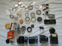 Lot 40+  Filter, Flange, Adapter Ring, Hoods, Telephoto Converter  - untested