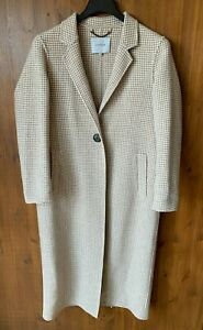 JIGSAW MAXI DUSTER JACKET Grey Gingham Check Longline Coat UK 12-14-16 - VGC