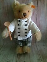 Steiff 90's Chef Teddy Bear Blond Mohair Full Jointed Growler 028557 14""