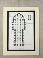 1857 Medieval Gothic Architectural Print Reims Cathedral Floor Plan Diagram